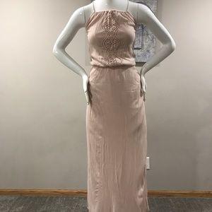 Embroidered blush maxi dress